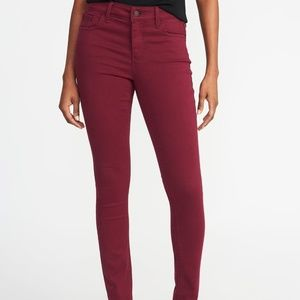 Old Navy Mid Rise Burgundy Rockstar Jeans